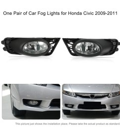 one pair of bumper grille fog lights led lamp with wiring relay switch kit for honda civic 2009 2011 sales online black tomtop [ 1000 x 1000 Pixel ]