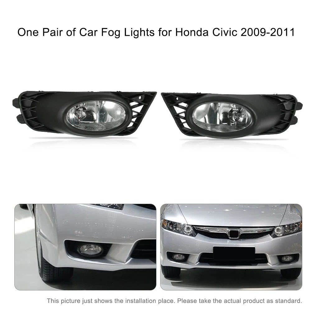 hight resolution of one pair of bumper grille fog lights led lamp with wiring relay switch kit for honda civic 2009 2011 sales online black tomtop