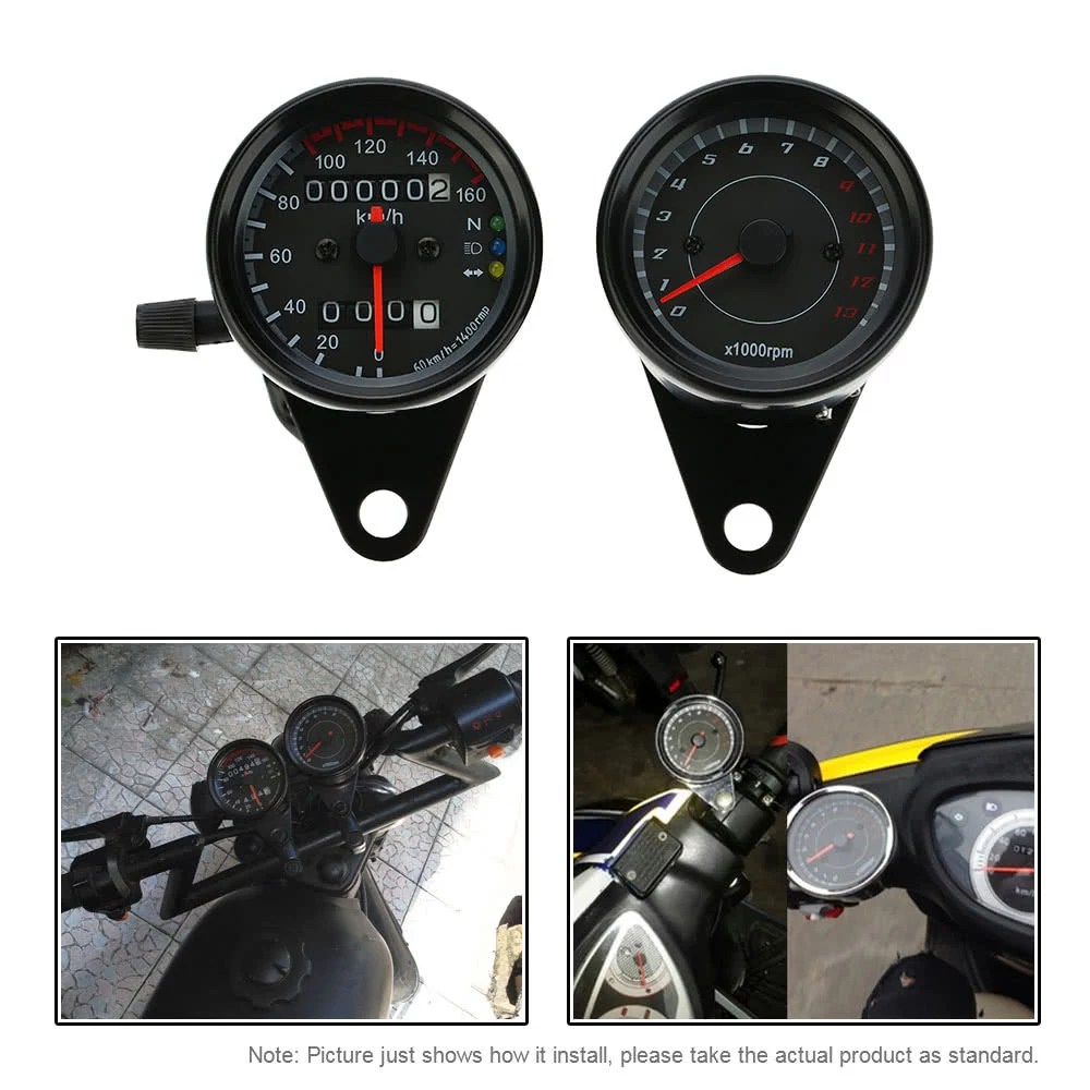 hight resolution of 12v motorcycle 13000 rpm tachometer km h speedometer dual odometer gauge with led backlight signal lights