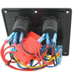 12v 24v waterproof 4 gang toggle switch panel led rocker switch panel with cigarette lighter socket dual usb port voltmeter for car boat marine motorcycle [ 1000 x 1000 Pixel ]