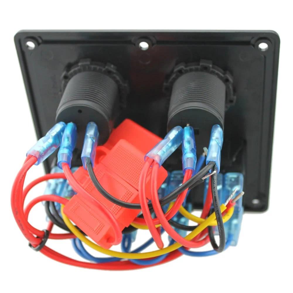 hight resolution of 12v 24v waterproof 4 gang toggle switch panel led rocker switch panel with cigarette lighter socket dual usb port voltmeter for car boat marine motorcycle
