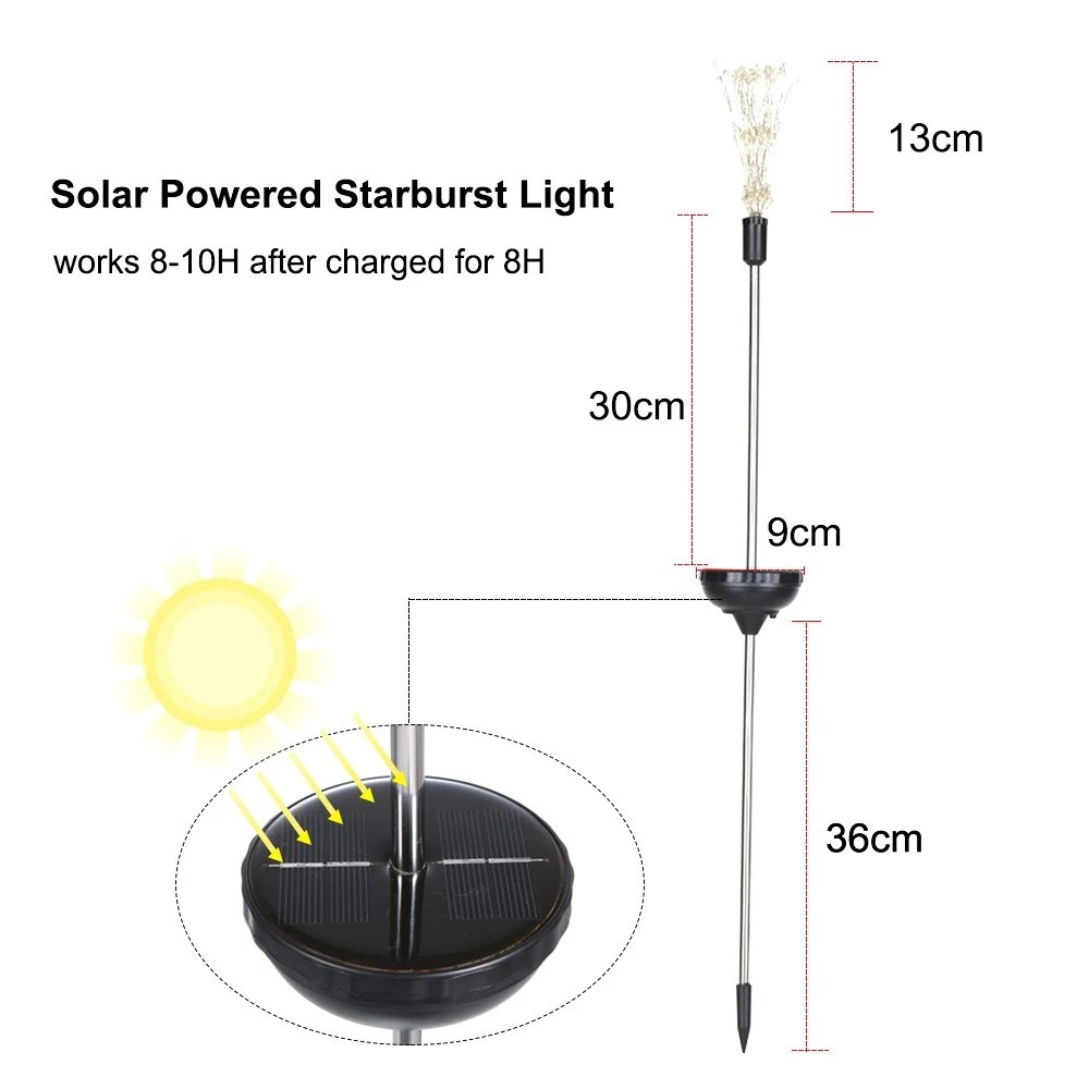 hight resolution of 2pcs solar powered 150led lights copper wire starburst fireworks fairy string garden landscape light sales online 01 tomtop