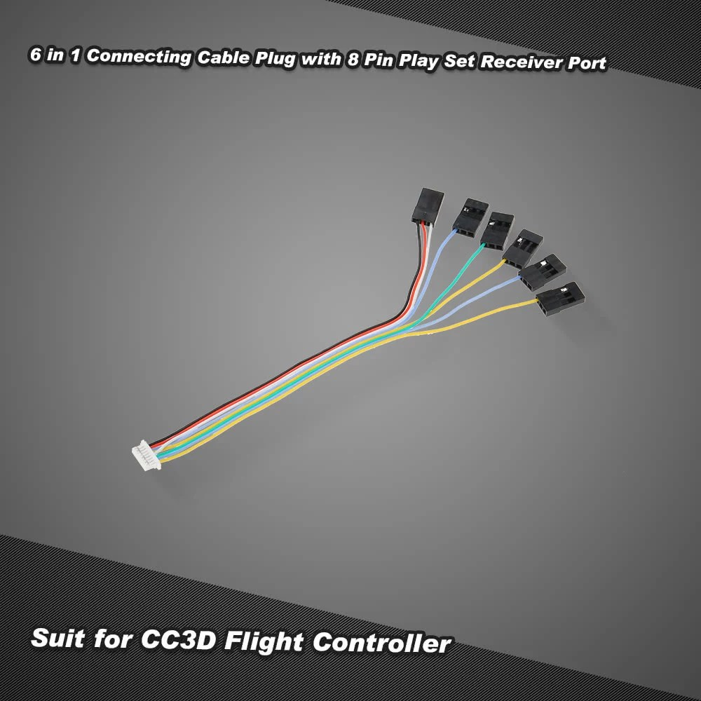 hight resolution of 6 in 1 connecting cable plug with 8 pin play set receiver port for cc3d flight controller