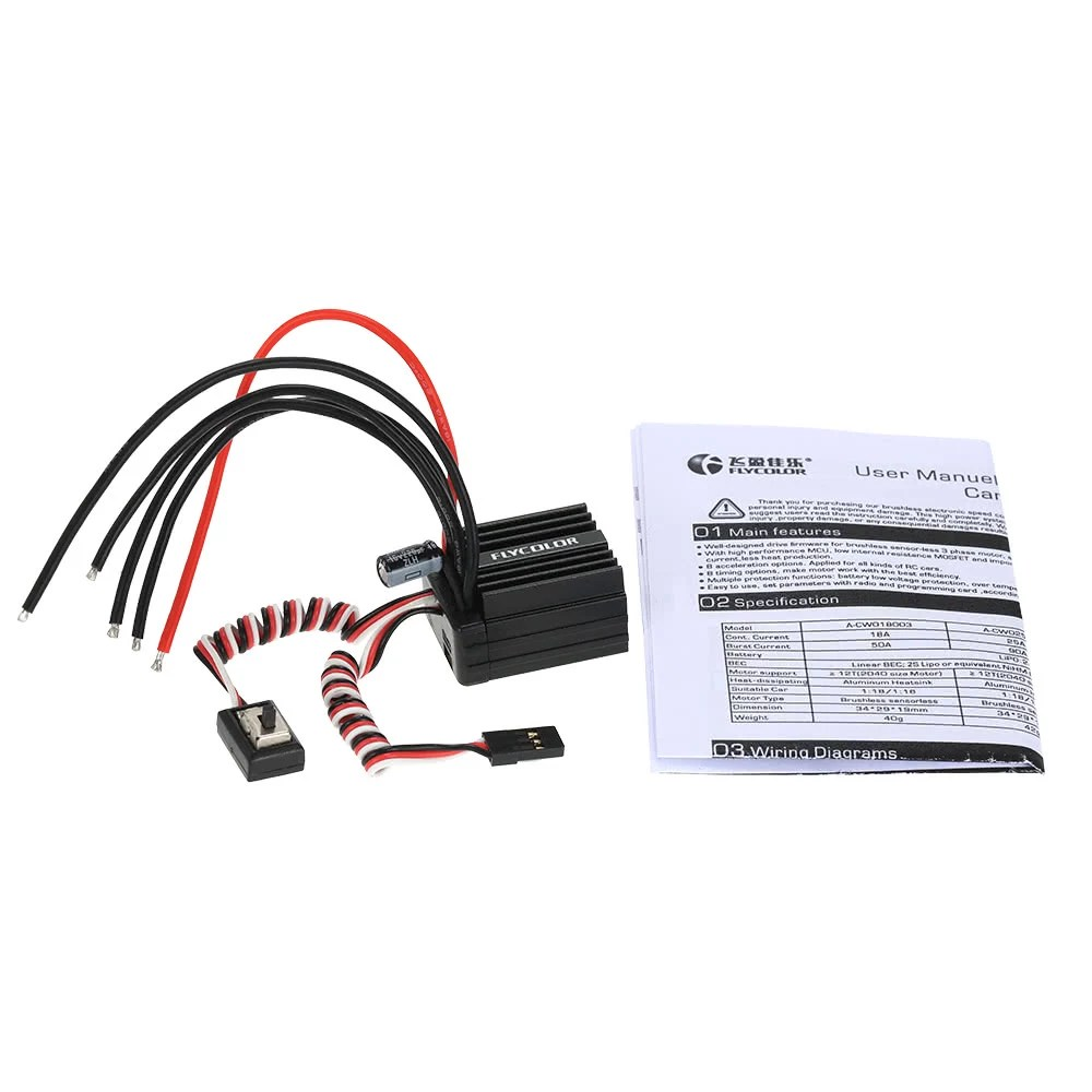 hight resolution of flycolor 18a brushless electronic speed controller esc with bec for 1 16 1 18 rc car for sale us 19 0 rm3965 tomtop