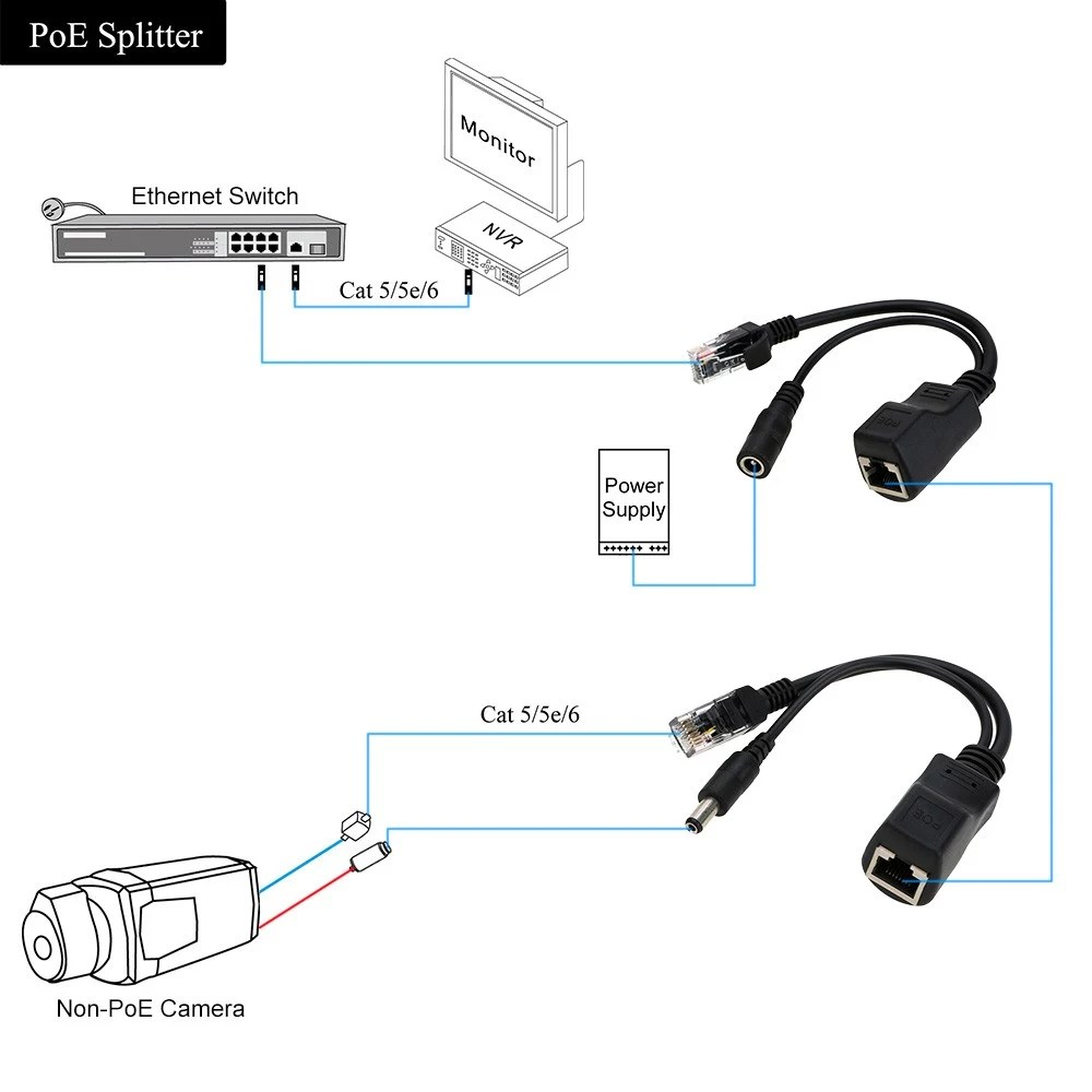 medium resolution of passive 100mbps rj45 poe splitter injector connector power over ethernet with 5 5 2 1mm dc plug