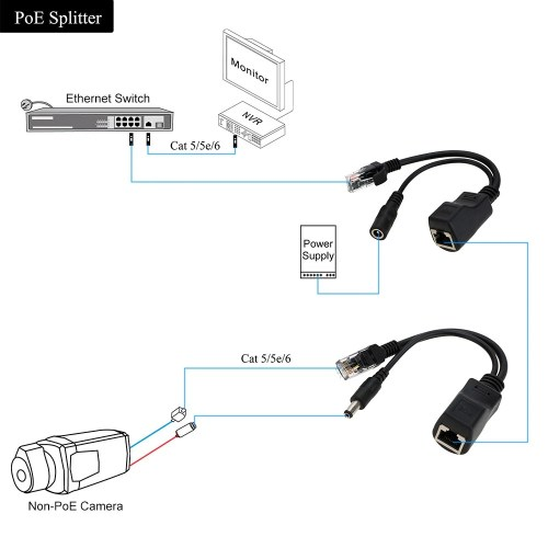 small resolution of passive 100mbps rj45 poe splitter injector connector power over ethernet with 5 5 2 1mm dc plug