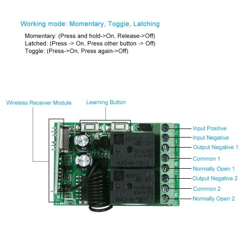 small resolution of 433mhz dc 12v 2ch universal 10a relay wireless remote control switch receiver module and 1pcs 2 key rf