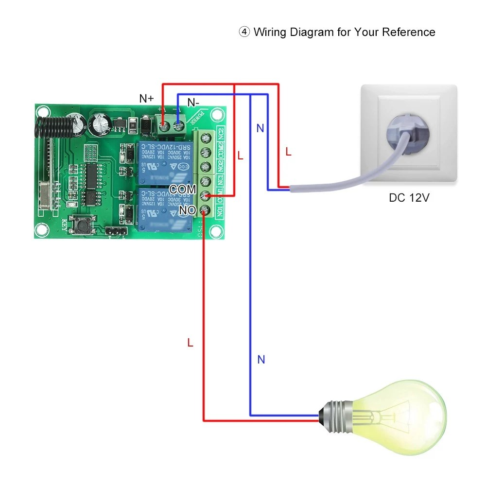 medium resolution of 433mhz dc 12v 2ch universal 10a relay wireless remote control switch