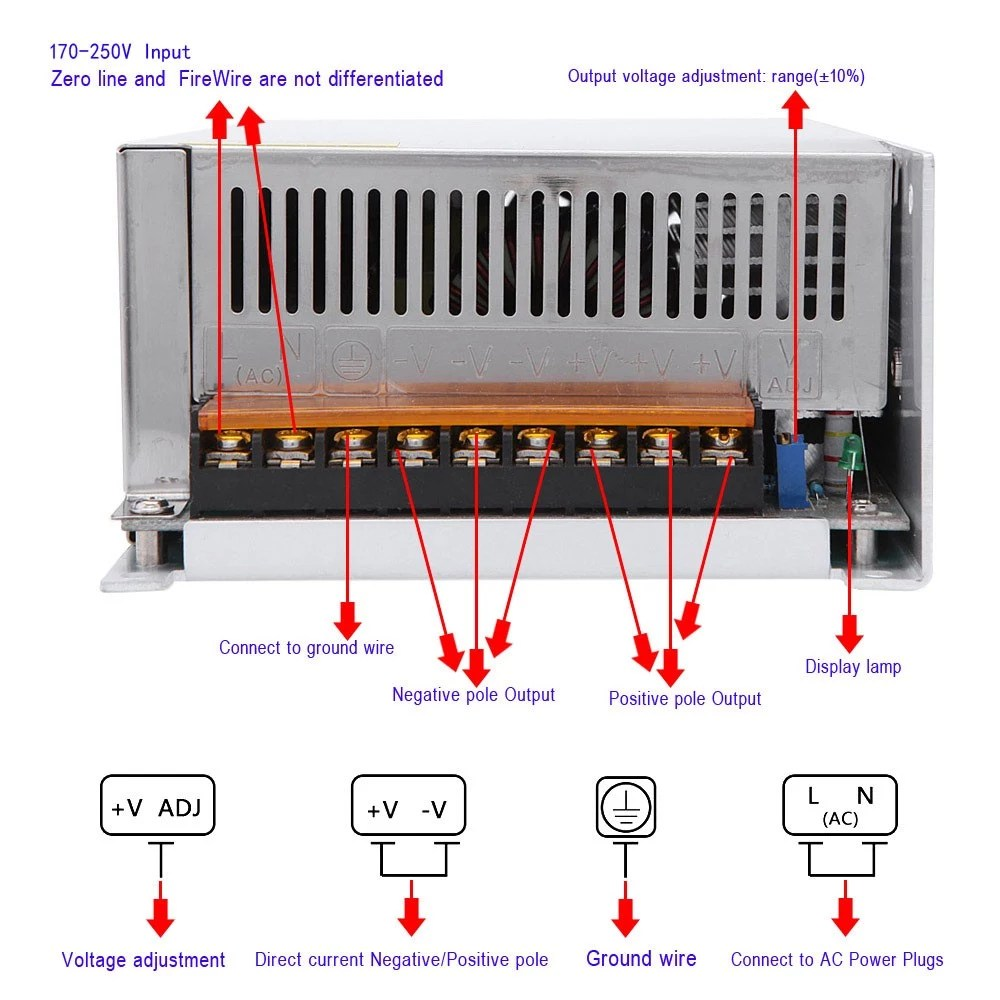 hight resolution of ac 170 250v to dc 12v 50a 600w voltage transformer switch power supply for led strip