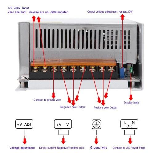 small resolution of ac 170 250v to dc 12v 50a 600w voltage transformer switch power supply for led strip