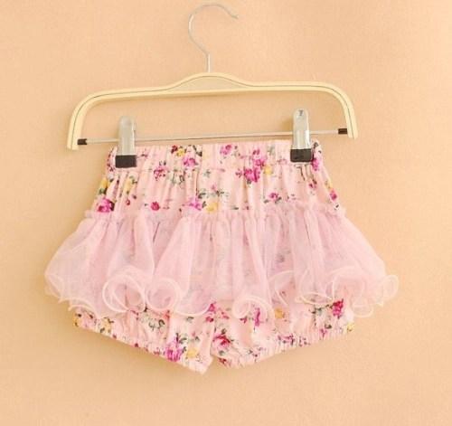 Summer Kid Girls Flower Print Bowknot Shorts Cute Mesh Short Culottes