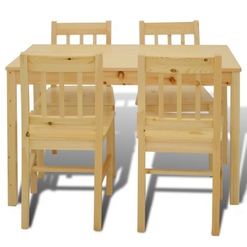 Table with 4 Chairs in Natural Wood
