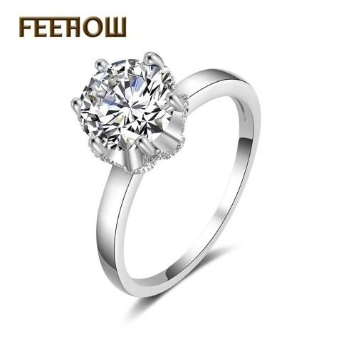 FEEHOW simple new AAA zircon ring