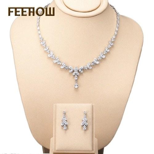 FEEHOW Bridal Wedding Banquet Necklace Earring Set
