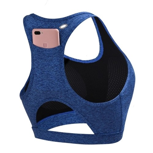 Yoga shockproof sports bra back pocket Padded Racerback Sports Bras