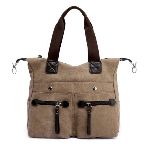 Fashion Women Canvas Handbag Casual Shoulder Bag Pockets Large Capacity Vintage Crossbody Tote Travel Bag