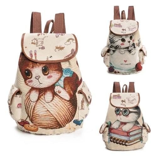 Women Canvas Backpack Cartoon Cat Pattern School Bag Pockets Casual Vintage Bag Travel Ruchsack