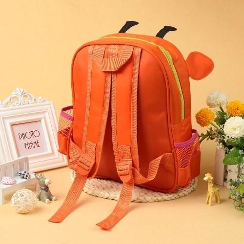New Kids Backpack Cartoon Animal Print Adjustable Straps Zipper Closure Boys Girls Schoolbag