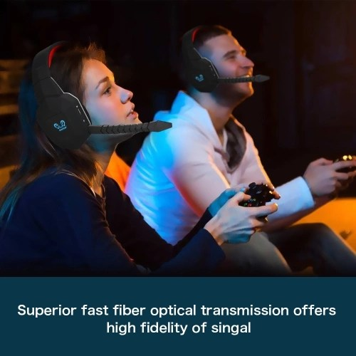 HUHD Wireless Headset 2.4Ghz Optical Stereo Noise Canceling Gaming Headphone with 7.1 Surround Sound Detachable Mic Rechargeable Battery for Mac for PS3/4