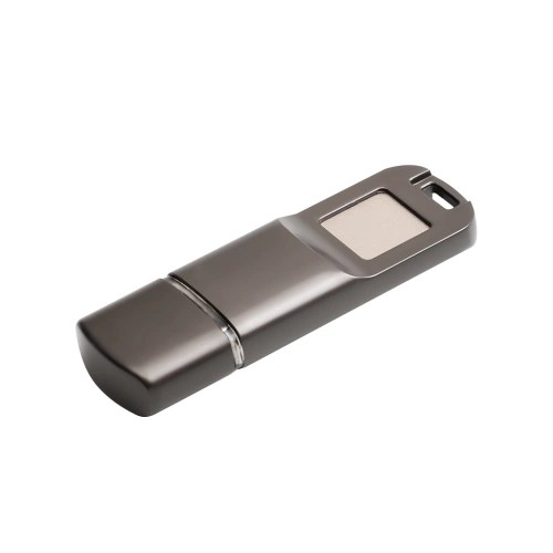 USB2.0 Fingerprint Encryption USB Flash Disk High Speed U Disk Encrypted Memory Metal Design for Business/Personal Data Security (Dark Grey)