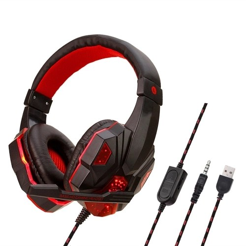 830 Wired Game Headphones Computer Gaming Earphone LED Light Noise Cancelling Headset Headband for Xbox One Play Station 4 with Mic