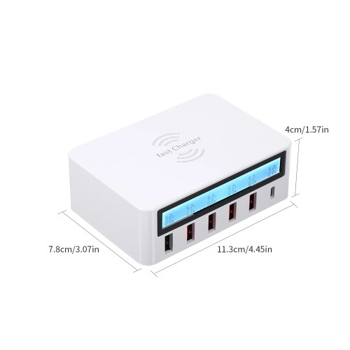 Smart Charging Station with 6 Ports LCD USB Charging Dock Wireless Charger of Universal Compatibility Charging Station for Family and Office Use
