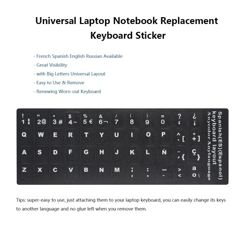 French AZERTY Replacement Keyboard Sticker with Big Letters Non-Transparent Universal for Laptop Notebook