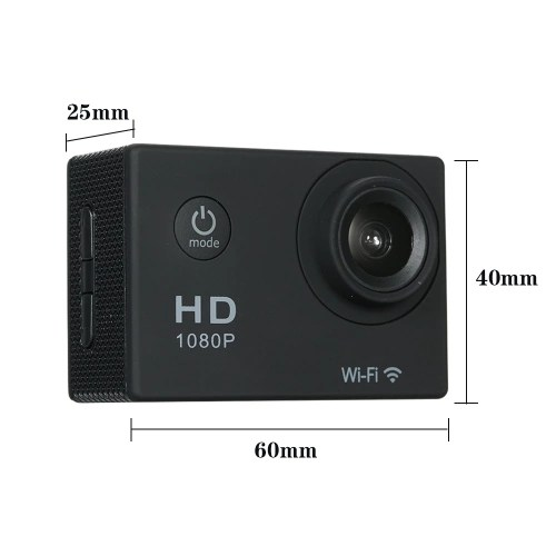 720P Wifi Sport Action Camera 12M 2.0 Screen 170 degree Wide Angle Video Cameras Waterproof 30M Shockproof Outdoor Mini Camcorder Car DVR (Camera + Waterproof Case)