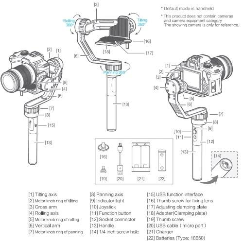 Feiyu MG Lite 3 Axis Handheld Mirrorless Camera Gimbal