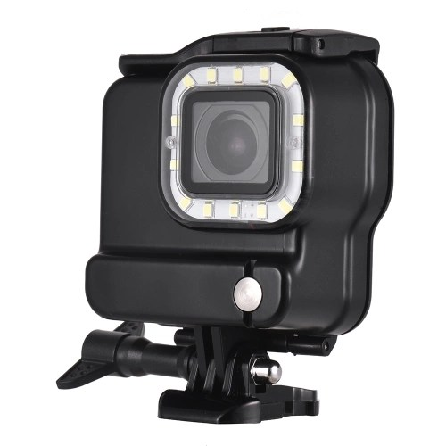 2-in-1 Action Camera Waterproof Housing + LED Diving Fill-in Light 14pcs LEDs 3 Lighting Modes 300LM Underwater 30m with Rechargeable Battery for GoPro Hero 6 5 Sports Cameras