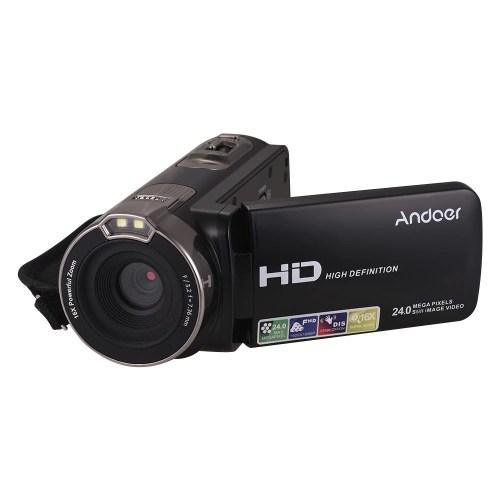 Andoer Upgraded 1080P Full HD Digital Video Camera Portable Home-use DV with 3.0 Inch Rotating LCD Screen Max. 24 Mega Pixels 16