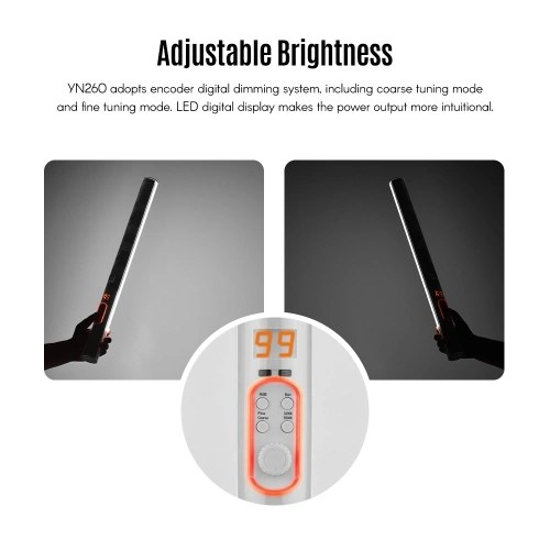 YONGNUO YN260 Professional LED Dimmable Bi-color Video Light 3200K-5500K and RGB Full Color CRI 95+ Support Mobile APP Remote Control for Portrait News Interview Product Photography