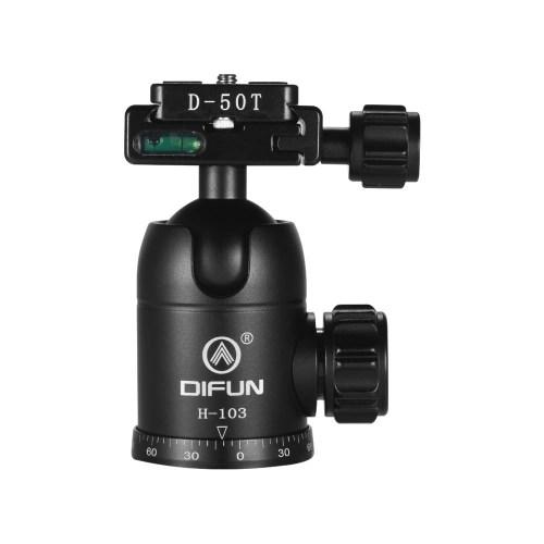 DIFUN H-103 Professional Aluminum Alloy Ball Head Panoramic Damping Video Head Tripod Head 1/4 Inch Screw for Canon Nikon Sony DSLR ILDC Cameras Max. Load Capacity 10kg