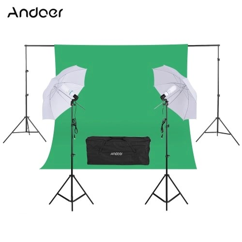 Andoer Photography Kit  Backdrop Stand Muslin Backdrop 135W White Daylight Light Bulb with Swivel Socket White Soft Light Umbrella Light Stand for Photo Studio