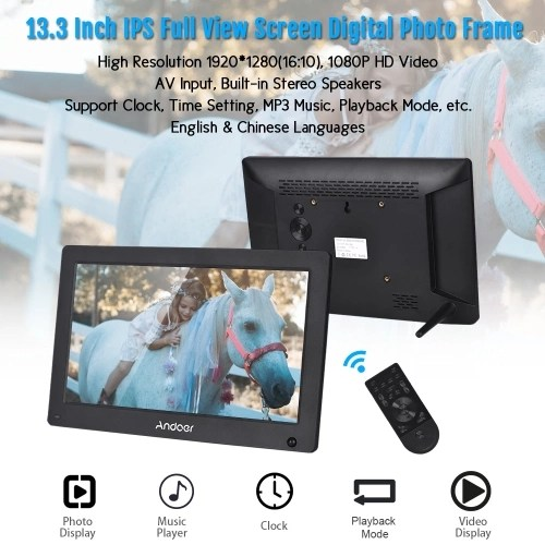 Andoer 13.3 Inch Digital Photo Frame IPS Full View Screen Digital Picture Album High Resolution 1920*1280(16:10) Support 1080P HD Video AV Input Clock with Motion Sensor Remote Control White US Plug