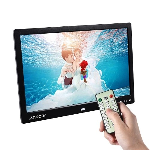 Andoer 13 LED Digital Photo Frame Screen Desktop Album Display Image 1080P MP4 Video MP3 Audio TXT eBook Clock  Calendar 1280 * 800 HD Resolution with Infrared Remote Control/ 7 Touch Key Support Auto Play/ 14 Language/  Stand