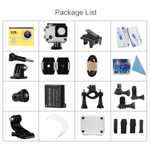 2.0 Inch LCD 2.7K 30FPS 45M Waterproof Ultra-HD 1080P 60FPS 14MP Wifi Action Camera with FPV 170