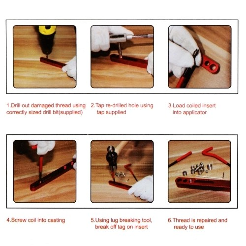 131pcs Stripped Damaged Helicoil Thread Rethread Repair Tools Kit Set Professional Recoil Repair Tool