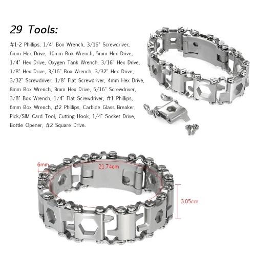 29-in-1 Multi-functional Spliced Bracelet Wristband Screwdriver 3.05cm Width