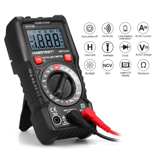 HABOTESE HT113A Digital Multimeter 2000 Counts Non Contact Multi Meter