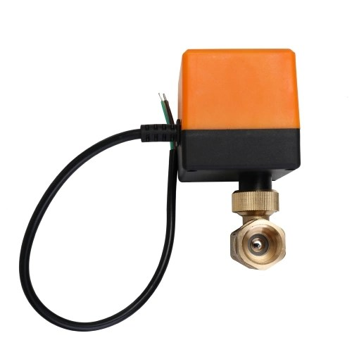 DN15 AC 220V Waterproof 2 Way 3-Wire Ball Electric Motorized Brass Valve with Actuator