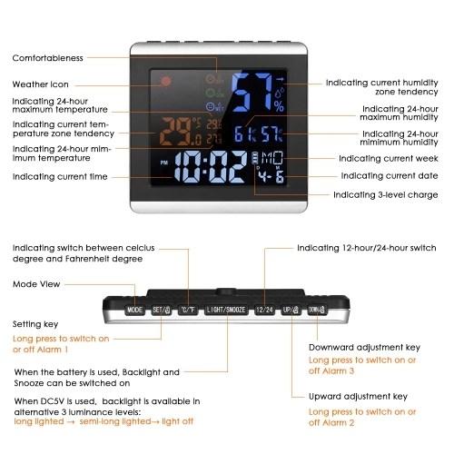 Indoor Digital Color Thermometer Hygrometer Clock
