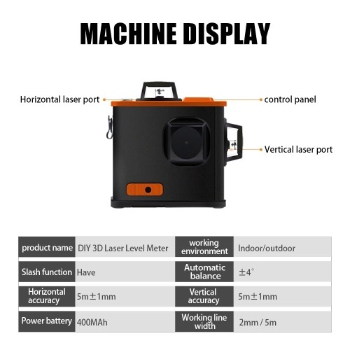 Multifunctional DIY 3D Laser Level Meter Projector High Accuracy Scanister Kit with 12 Green Lines
