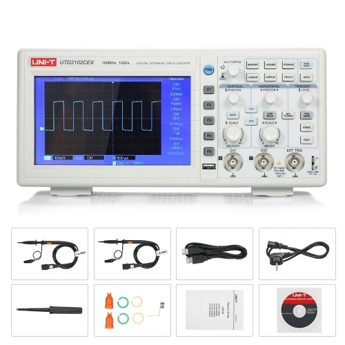 UNI-T UTD2102CEX Oscilloscope Oscillometer Digital Storage Oscilloscope 2CH 100MHz 1GS/s 7 TFT Display