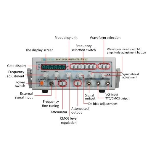 LW-1641 Wave Digital Function Signal Generator 0.1Hz-2MHz Frequency AC 220V