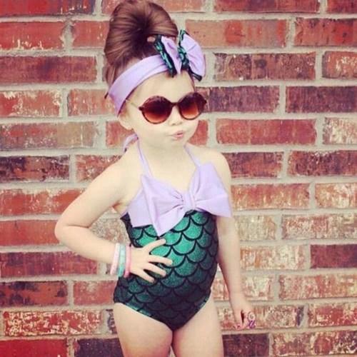 Swimwear and Hairband Girls Mermaid Bikini Swimwear Swimsuit Bathing Suit Costume Kids Toddler Girls Bathing Suit
