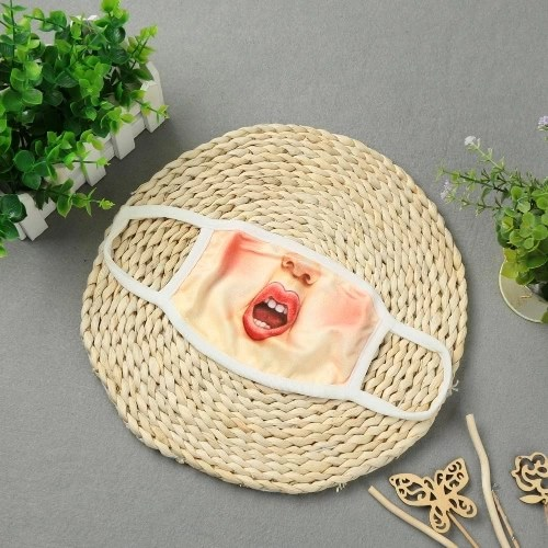 Funny Unisex 3d Printed Mouth Mask Human Face Mouth-Muffle Ear Loop Anti-Dust Creative Mouth Gauze Mask