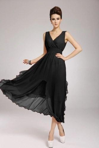2013 New Beach Bohemian Womens Dress Chiffon V Neck Long Maxi Dress Ball Evening Party Black