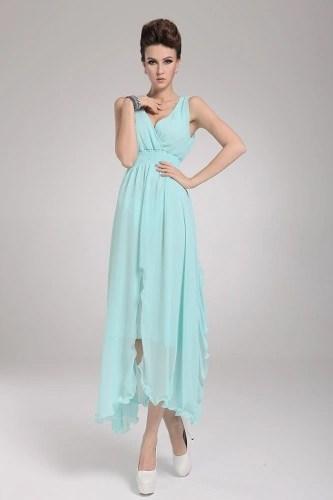 2013 New Beach Bohemian Womens Dress Chiffon V Neck Long Maxi Dress Ball Evening Party Sky Blue