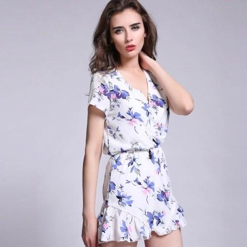 New Fashion Women Jumpsuit Floral Print Deep V Neck Irregular Trousers Short Sleeve Playsuit White